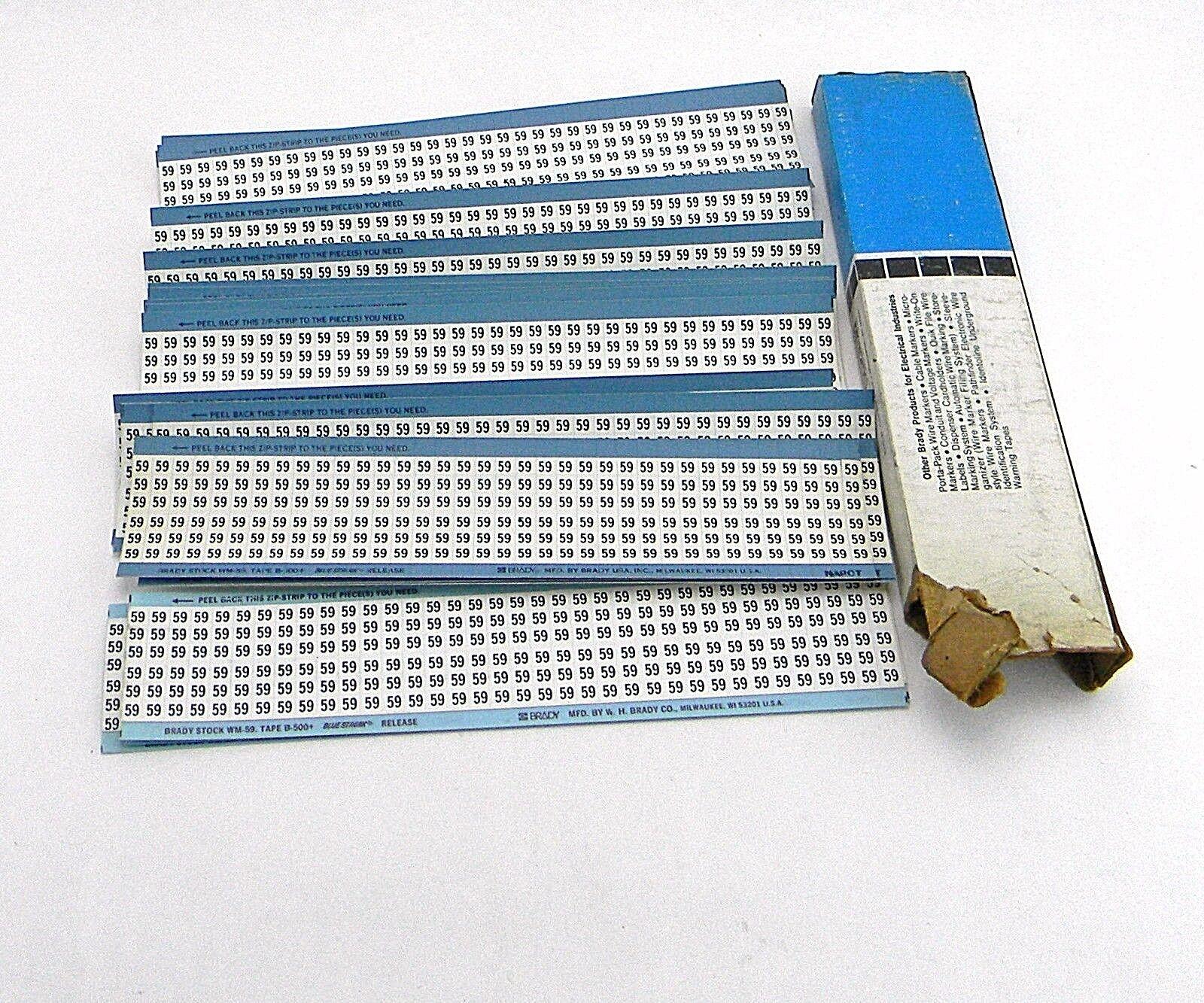 Cards Brady Wire Markers Number 59 Wm-59 .25 X 1.5 36 / Card   eBay