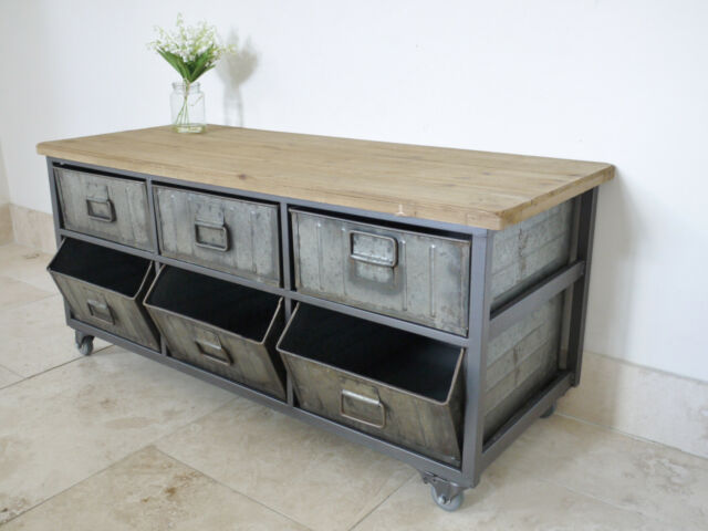 Metal Industrial Retro Drawers Sideboard Cupboard Storage Cabinet Unit U0026  Castors