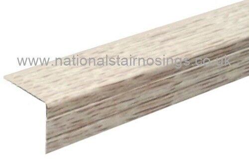 30x25mm Whitewashed Oak Stair Nosing In Aluminium For Laminate U0026 Wood Floors