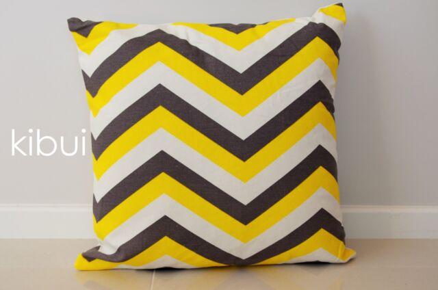 Chevron Home Decor Cushion Cover Throw Pillow Case Dark Grey/Yellow Kibui NEW