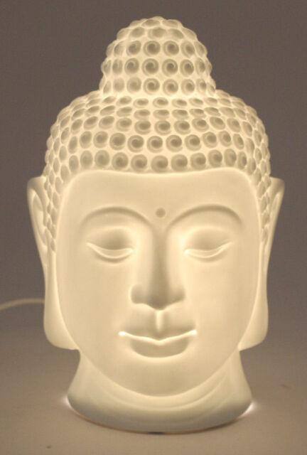 Tischlampe Buddhakopf aus Porzellan in weiß  Lampe  Deko Wurm (18978)