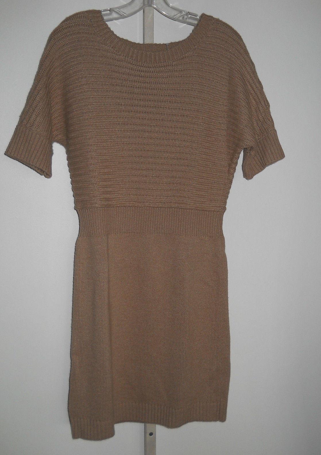 Ann Taylor Loft Short Sleeve Sweater Dress Fisherman Rib Brown S | eBay