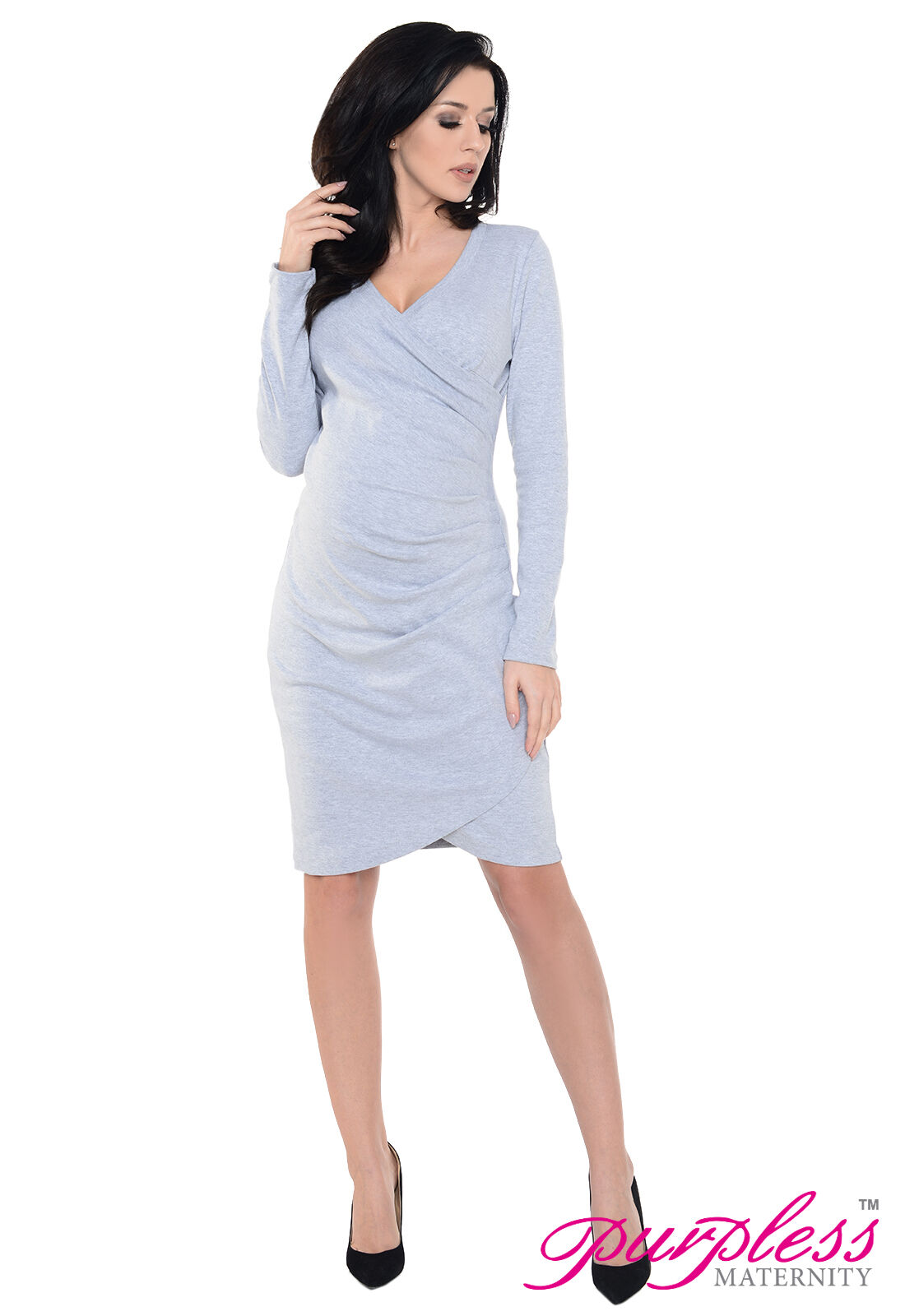 Purpless maternity contemporary side pleated long sleeves picture 3 of 5 ombrellifo Image collections