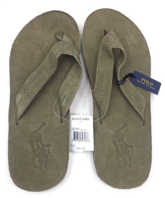 NEW Polo Ralph Lauren Men\u0027s Edgemont Big Pony Green Leather Flip Flop  Sandals