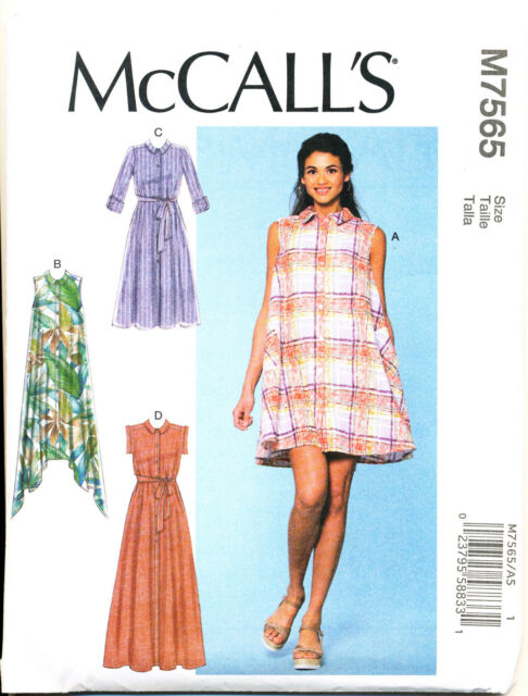 Mccalls Sewing Pattern 7565 Misses 14 22 Flared Swing Shirt Dress