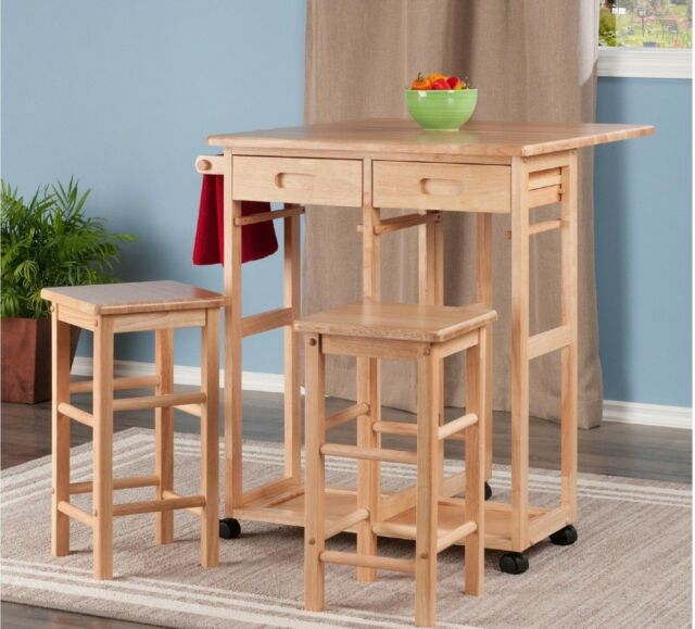 Drop Leaf Table Stools Rolling Wood Kitchen Utility Cart Storage