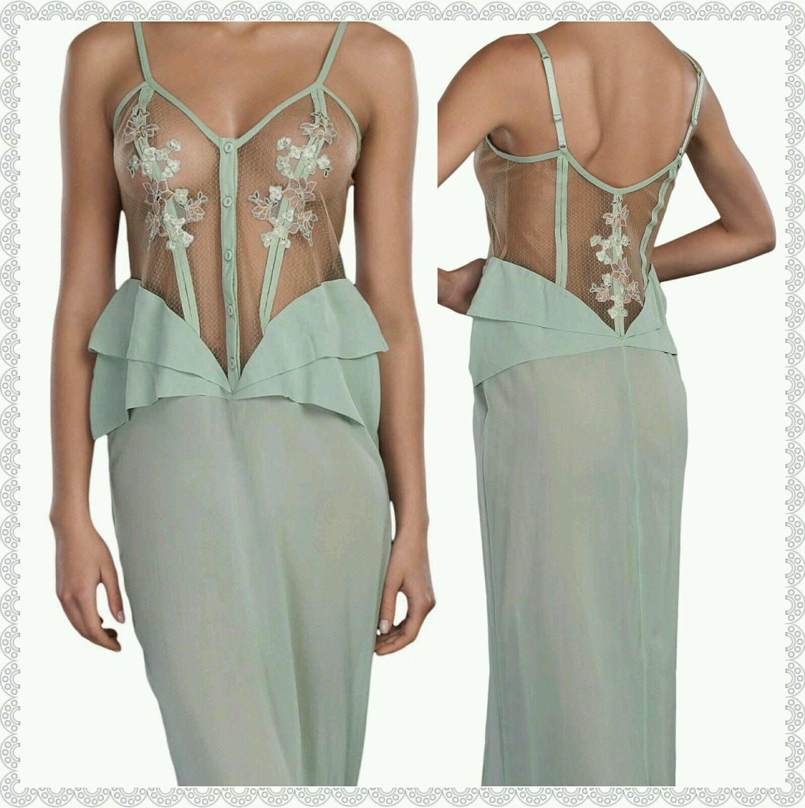 La Perla Lucia Camicia NOTTE Tulle Silk Long Nightgown MINT Green ...