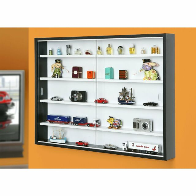 Collectors Display Cabinet Organizer Wall Mounted Glass Vitrine Shelves  Decor
