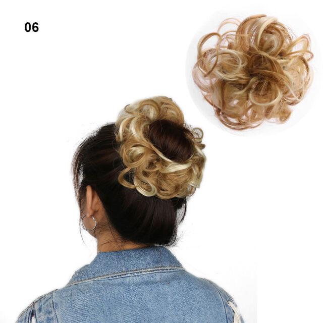 1 X 100 Natural Curly Bun Hair Piece Scrunchie Real Thick Hair