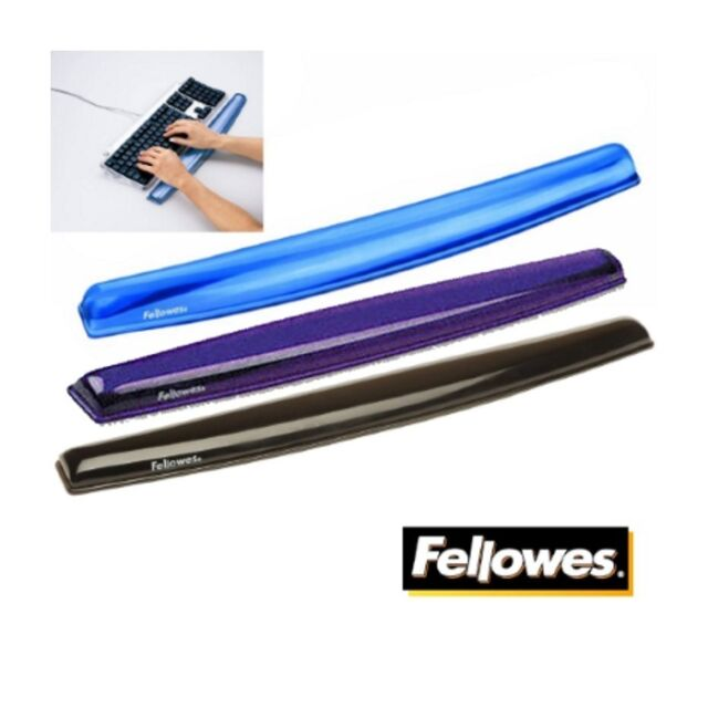 FELLOWES KEYBOARD / TYPING WRIST REST SUPPORT CRYSTAL GEL BLACK, BLUE OR PURPLE