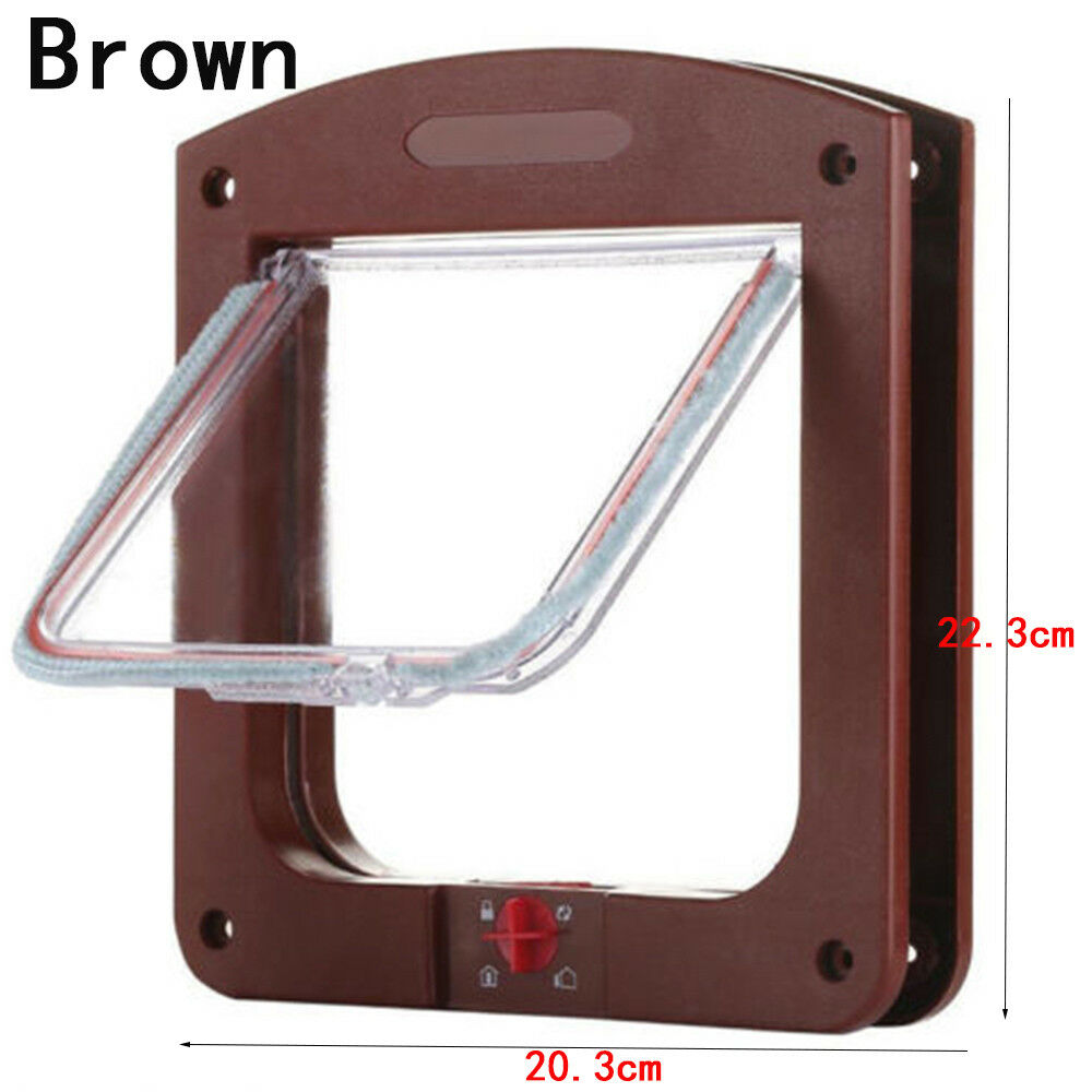 Dog Cat Door Small Pet Animal 4 Way Magnetic Locking Lockable Entry