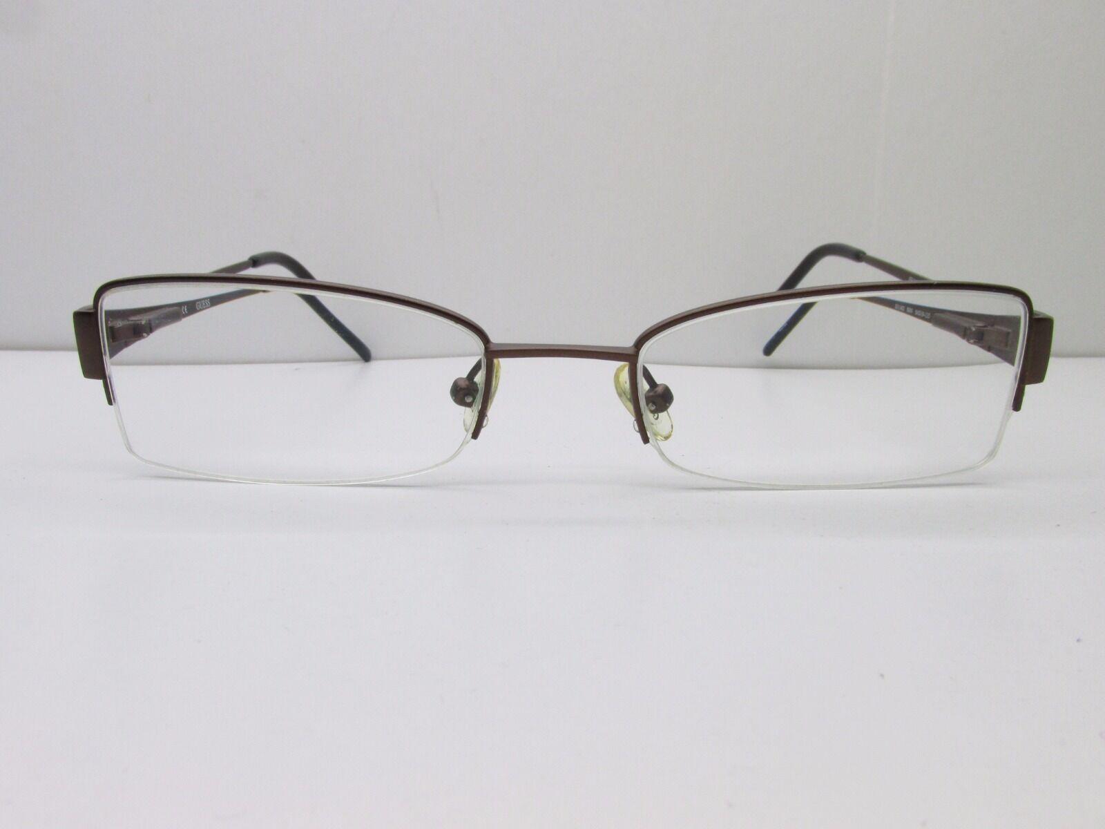 GUESS GU 1482 Eyeglasses Frames 50-19-135 Brown Half Rimless Tv6 ...