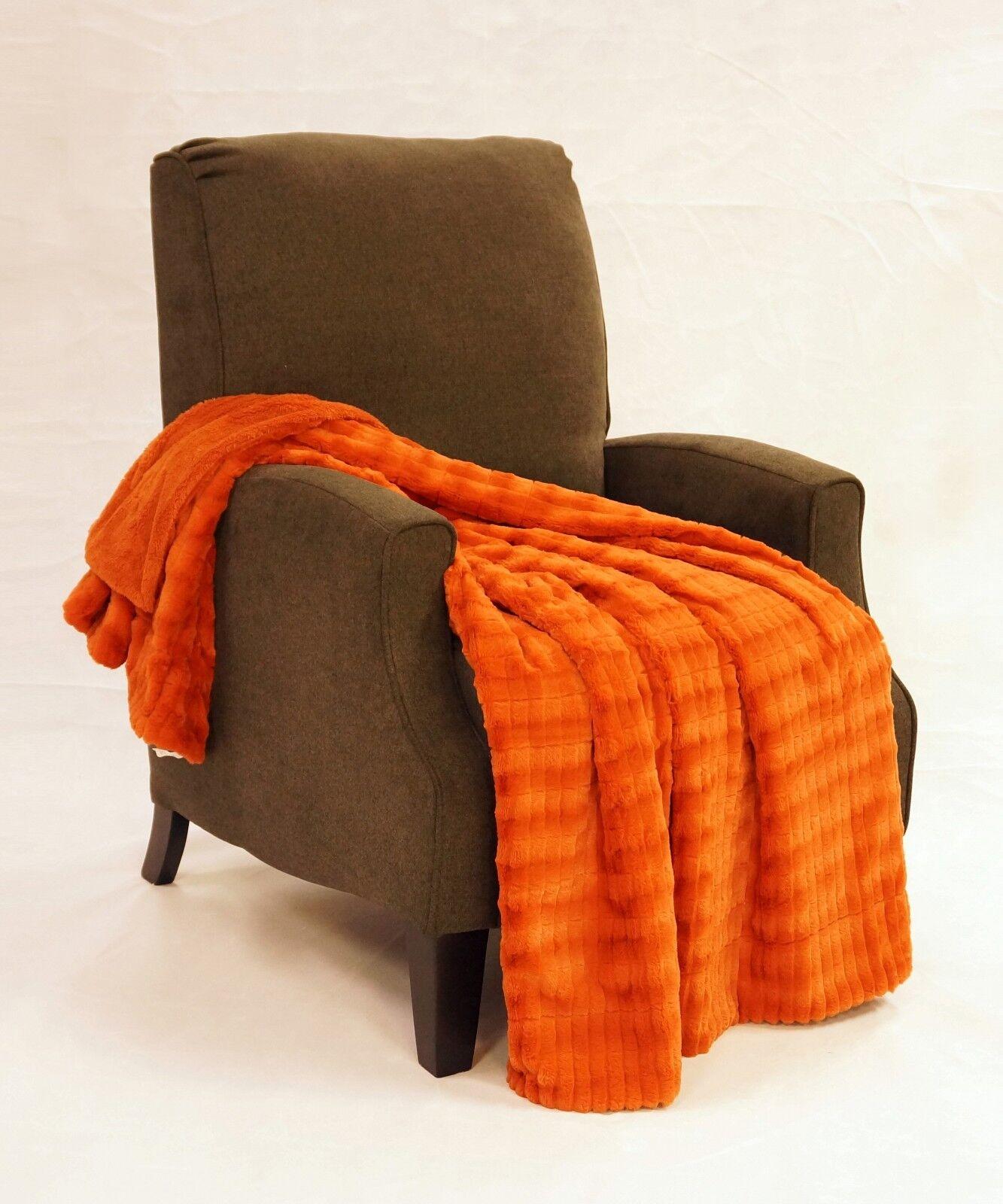 Boon Garret Faux Fur Throw Blanket 20in X 20in Burnt Orange   eBay