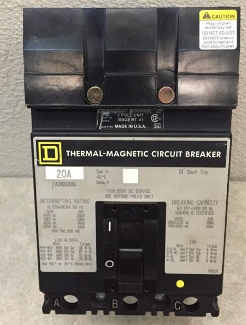 Square D FA36020G I Line Circuit Breaker 20 Amp 3 Pole 600 V | eBay