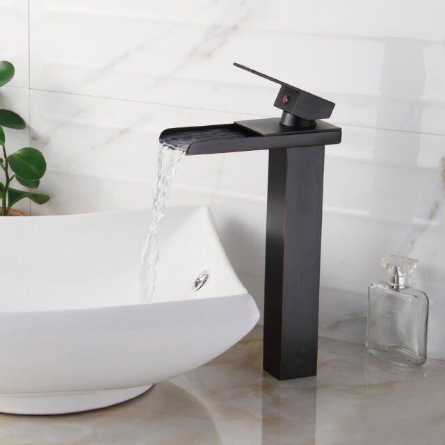 Bathroom Sink Faucet Vessel Waterfall Oil Rubbed Bronze One Hole ...