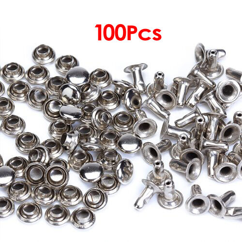 100 Sets 6mm Round Iron Rivets Rapid Studs for Riveting, Decorating HY