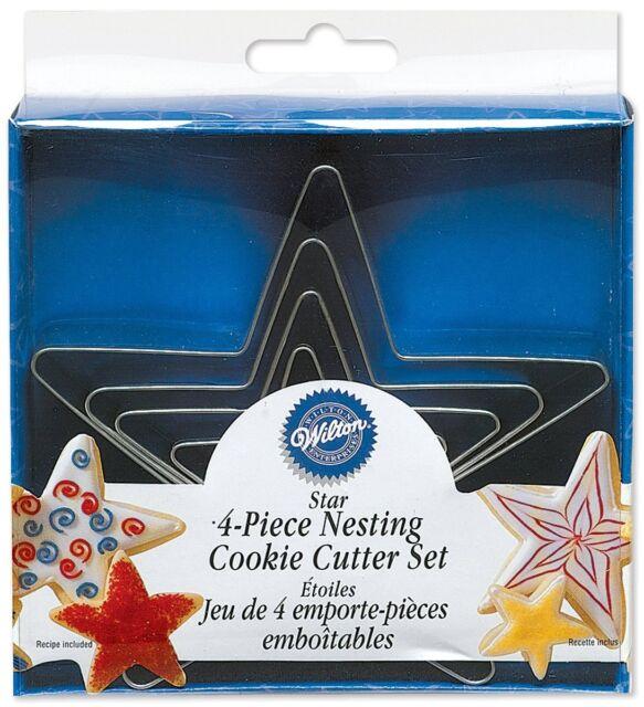 Wilton 4 Pcs NESTING STARS Cookies Metal Cutter Party Sky Fun Baking Decorating