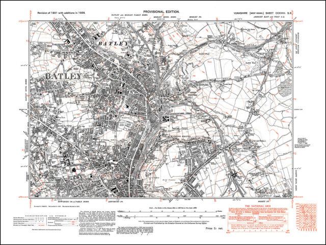 Batley Dewsbury North Old Map Yorkshire 1938 232se Repro eBay