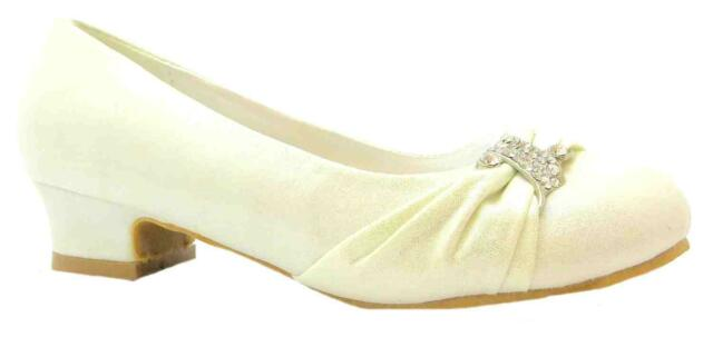 Rainbow Anastasia S Ivory Satin Low Heel Bridesmaid Wedding Shoes New