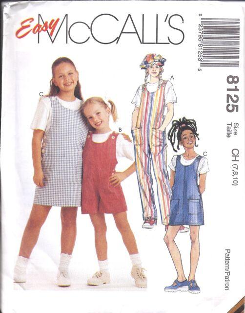 8125 Uncut Vintage McCalls Sewing Pattern Girls Jumpsuit Romper ...