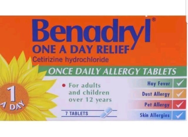 Benadryl One A Day Allergy Relief Tablets 7 expiry 12/18 Free postage