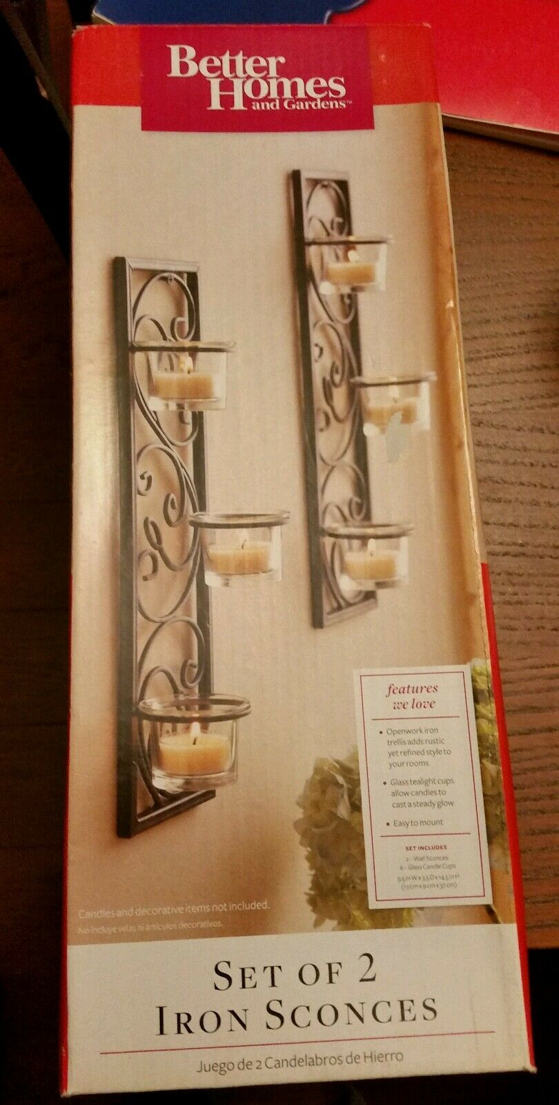 Better Homes and Gardens Set of 2 Black Scroll Iron Candle Sconces ...
