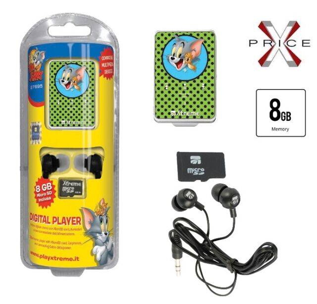 Lettore MP3 8GB XTREME TOM U0026 JERRY MINI USB SLOT MICRO AURICOLARI JACK ...
