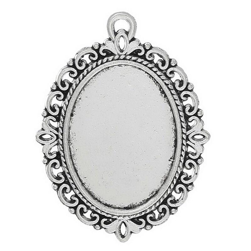 10pcs Wholesale Lots Silver Tone Oval Cameo Frame Setting Pendants ...