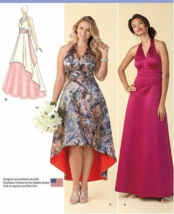 simplicity Pattern 1406 Bridesmaid Evening Halter Hi Low Dress Plus ...