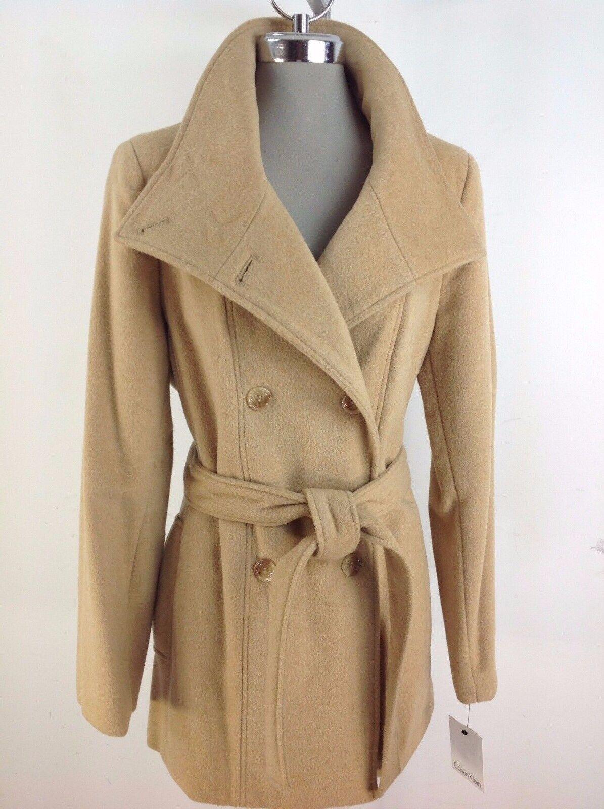 Calvin Klein S Women's Camel Wool Blend Belted Peacoat Size 8 14 ...