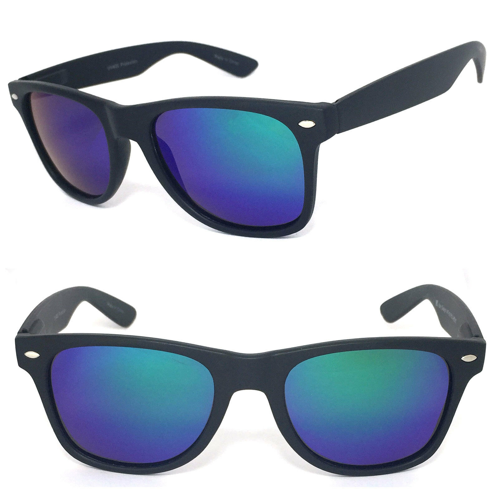 Polarized Retro Square Frame Sunglasses 52mm Matte Black Blue Green ...
