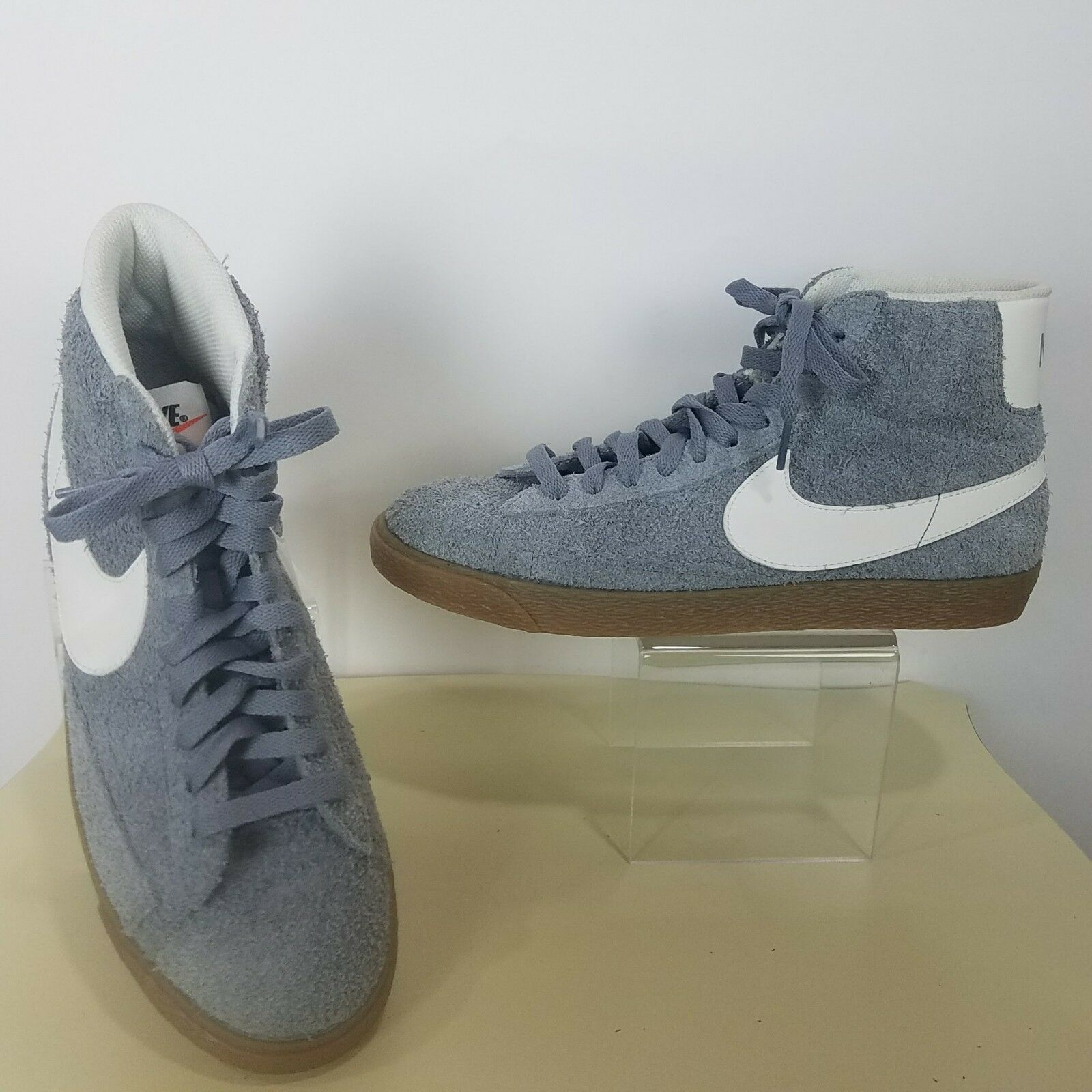 NIKE Women Sz 9 US Gray Blazer Mid Suede Vintage Casual Leather Shoes 518171-016