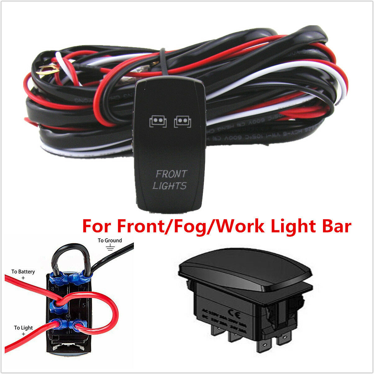 40a Offroad Front Lamp Fog Light Bar Wiring Harness Relay On Off Lightbar Picture 1 Of 8