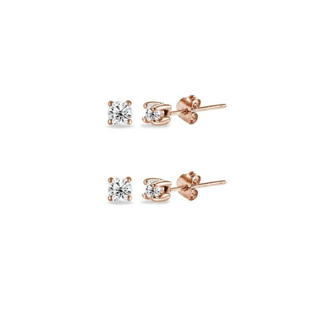 Rose Gold Flash Sterling Silver Cubic Zirconia Set Of 2 Round 2mm Stud Earrings