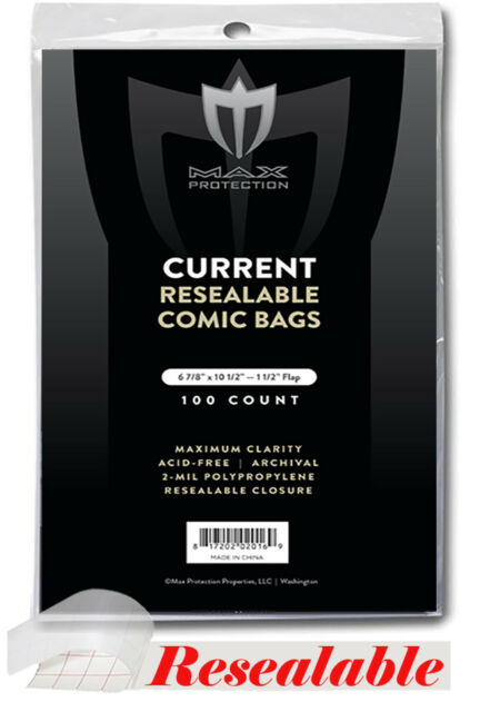100 Max Pro RESEALABLE Current Comic Book Poly Bags -Archival Safe Acid Free  sc 1 st  eBay & 100 Current Resealable Comic Bags and Boards - Max Archival Book ...