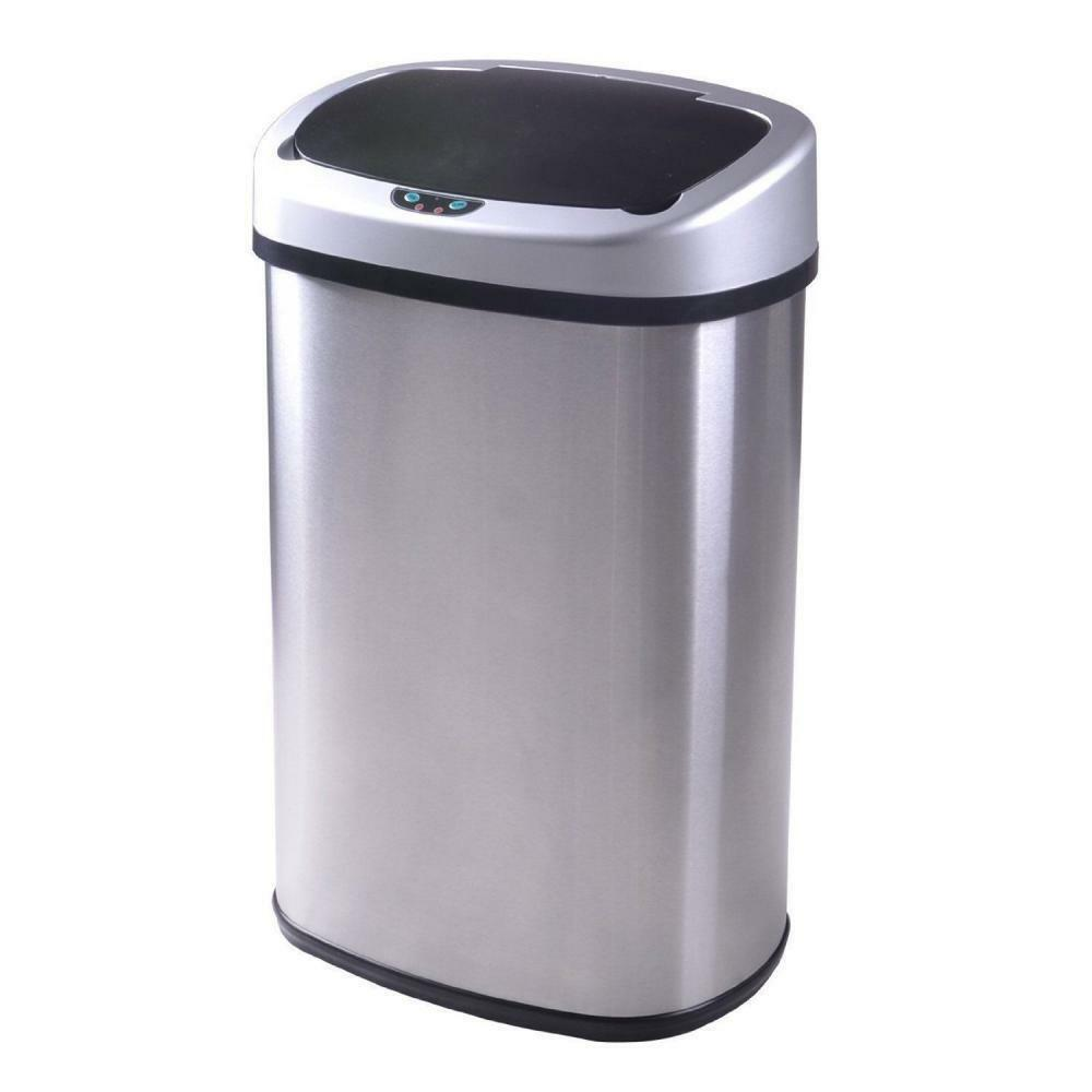 White 13-gallon Touch Sensor Automatic Touchless Trash Can Kitchen ...