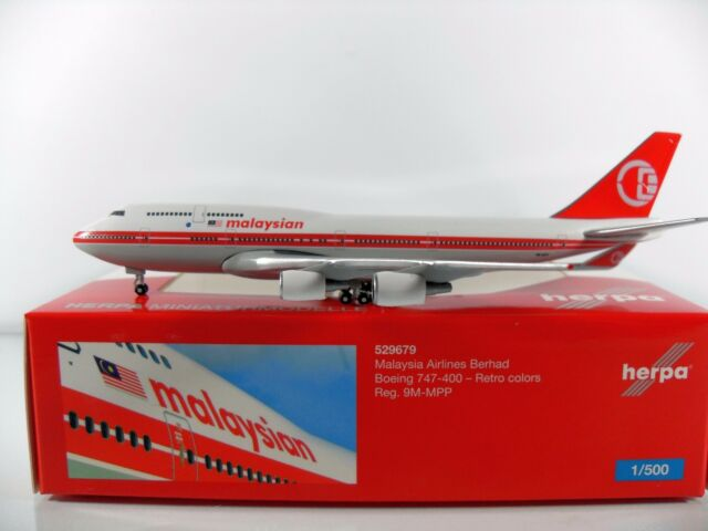 Herpa Wings 1:500 Malaysia Airlines Boeing 747-400 - Retro colors Artnr.529679