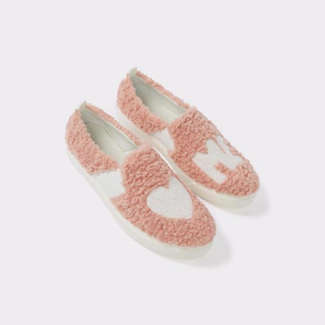 ALDO Womens Loveawen fluffy heart slip-on trainers Pink Size UK 4 EU 37 NH04 28