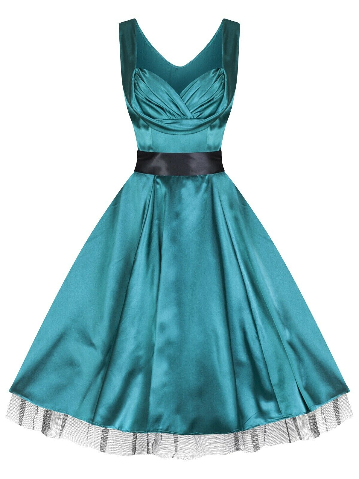 Classic 1950s Vintage Style Silky Satin Full Circle Party Prom Dress ...