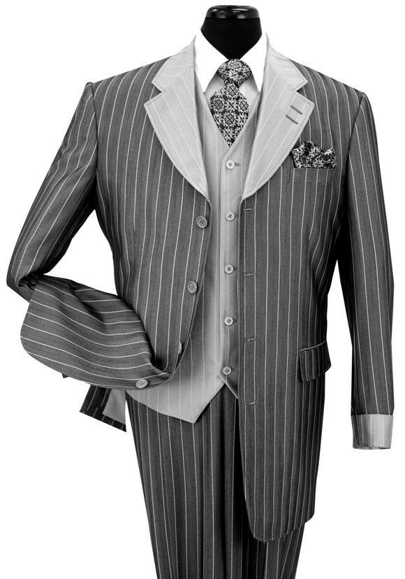 men s 3 pieces luxurious classic gangster pinstripe wool feel suit