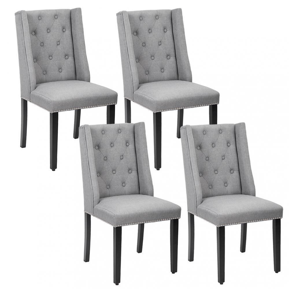 Set Of 4 Grey Elegant Dining Side Chairs On Tufted Fabric W Nailhead 54b