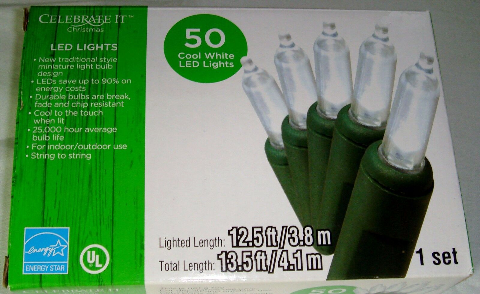 Celebrate It 50 LED Traditional Lights Cool White Bulb Green Wire ...