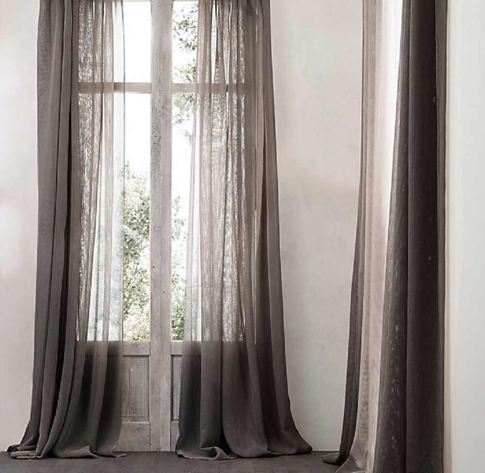 Design Restoration Hardware Drapery restoration hardware open weave sheer linen drapery mocha 50x120 picture 1 of 7