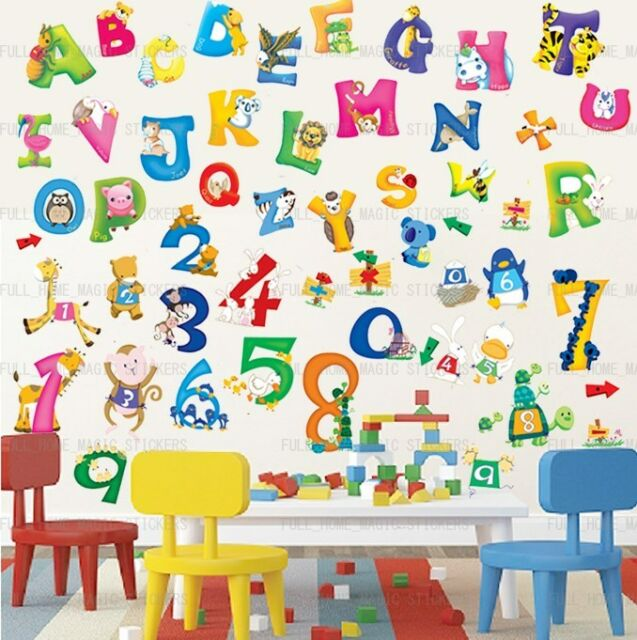 Delightful Large 54pc Alphabet Animal Number ABC 123 Educational Wall Stickers Kids  Nursery Part 25
