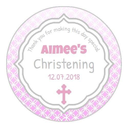 24 personalised pink christening communion label stickers thank you gift invites