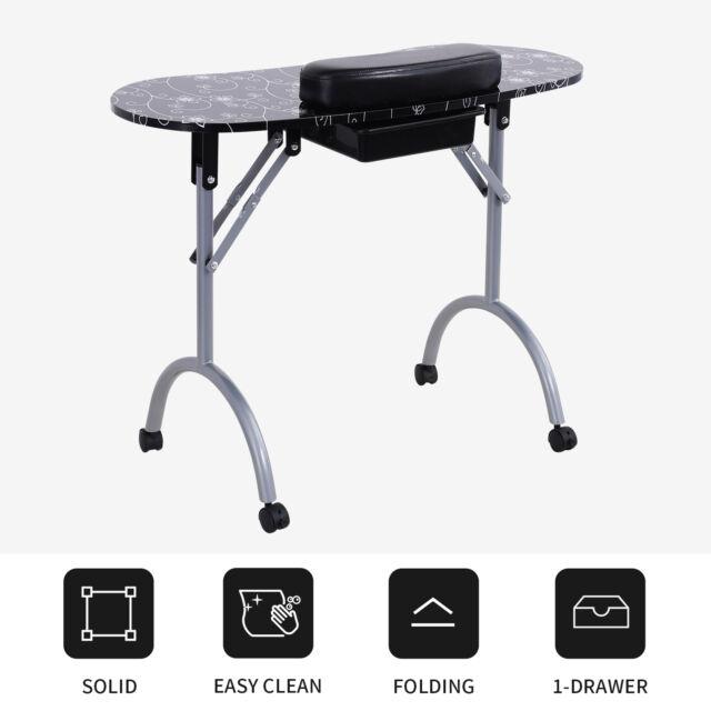 Foldable Manicure Nail Table Station Desk Spa Beauty Salon Black ...