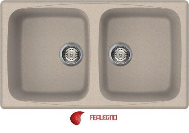 Lavello vetroresina 86x50 2 vasche colore Avena 51 Master 450 Elleci ...