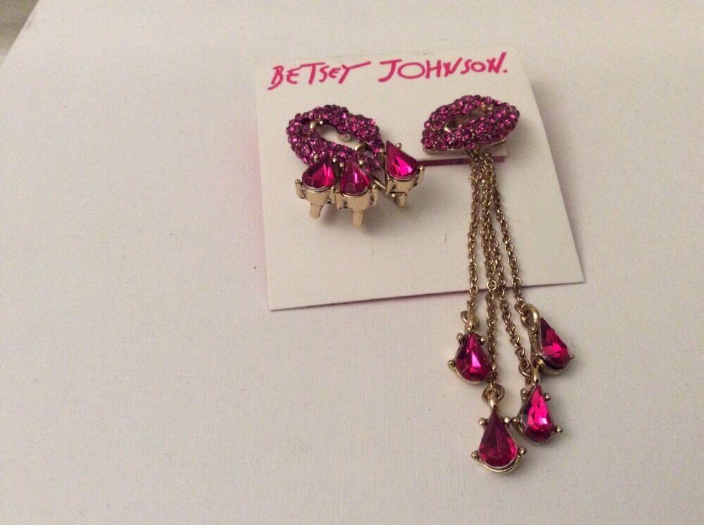 Betsey Johnson Jewelry Dark Shadows Vampire Lips Drop Earrings S ...