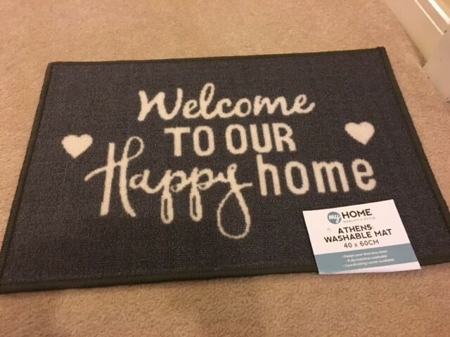 Grey Welcome HOME Shabby Chic WASHABLE DOORMAT DOOR MAT & Door Mats Leicester u0026 Door Mats Leicester Magnificent Designer ... pezcame.com