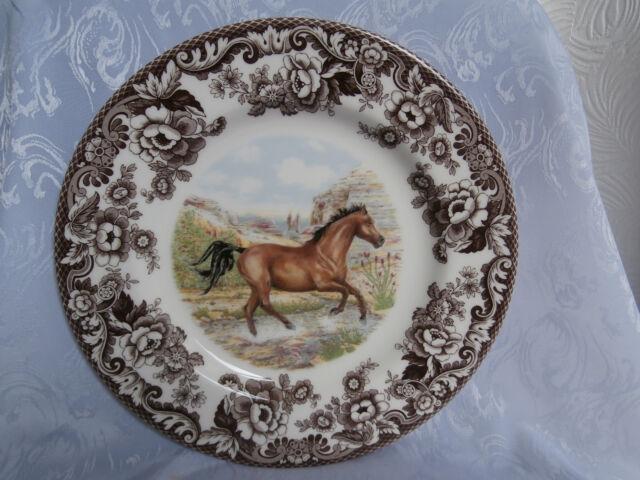 SPODE WOODLAND HORSES AMERICAN QUARTER HORSE 10.5 INCH DINNER PLATE RARE NEW & Spode Woodland American Quarter Horse Dinner Plate | eBay